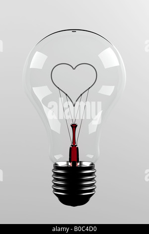 Love light bulb light bulb with a filament in the shape of a heart - Stock Photo