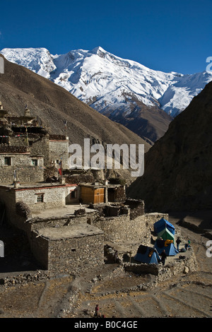 CAMPING in PHU VILLAGE with HIMLUNG PEAK behind on the NAR PHU TREK ANNAPURNA CONSERVATION AREA NEPAL - Stock Photo