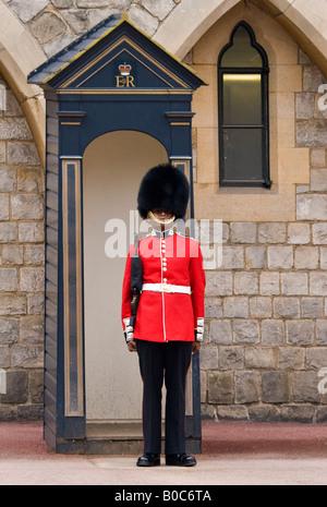 Queen's Guard, Windsor Castle, Berkshire, England - Stock Photo