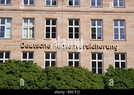 building of Deutsche Rentenversicherung in the city of Nuremberg, Bavaria, Germany, Europe. Photo by Willy Matheisl - Stock Photo