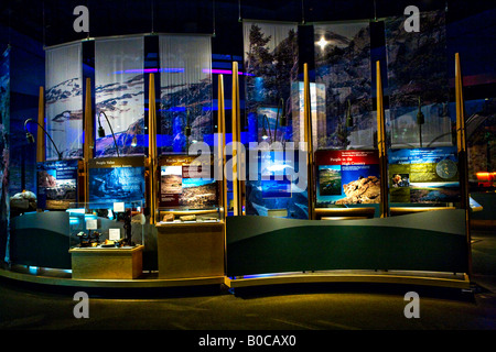 Image overlooking several natural history exhibits inside the Buffalo Bill Historic Center in Cody Wyoming - Stock Photo