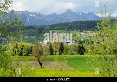 The village of Mauren with Toggenburg in the backdrop, Schaanwald FL - Stock Photo