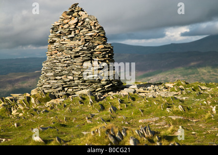 'Maiden Moor' Mountain Summit With A Large Cairn On The Summit 'The Lake District' Cumbria England UK - Stock Photo