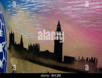 Houses of Parliament graffiti style - an image from The Cans Festival, a London street exhibition Banksy helped - Stock Photo