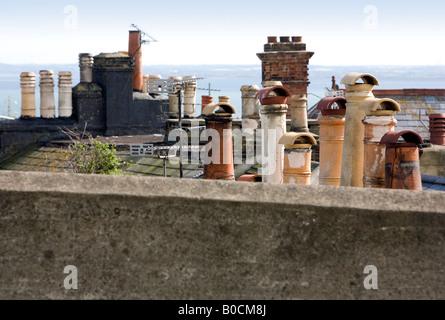 Chimney pots overlooking sea view in Ramsgate - Stock Photo