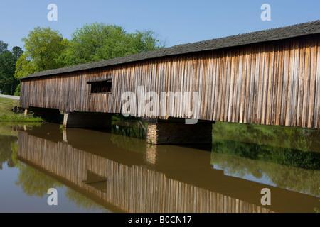 The Watson Mill Bridge in the Watson Mill Bridge State Park near Carlton Georgia - Stock Photo