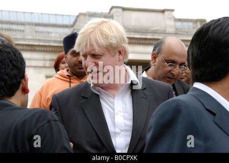Mayor of London Boris Johnson on walkabout at 2008 Vaisakhi Sikh New Year Festival in Trafalgar Square London. - Stock Photo