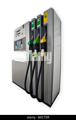 A petrol pump cutout on a white background. Pompe à essence neuve, détourée sur fond blanc. - Stock Photo