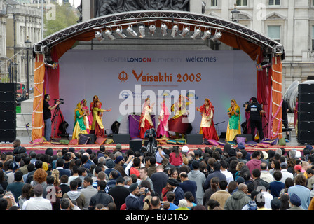 Dancers on stage at the the 2008 Vaisakhi Sikh New Year Festival in Trafalgar Square London - Stock Photo