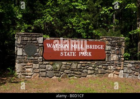 Entrance sign to Watson Mill Bridge State Park near Carlton Georgia - Stock Photo
