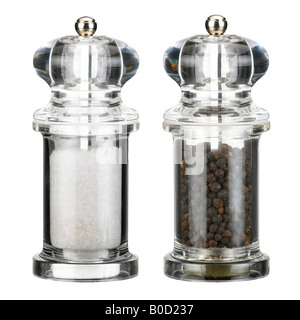 CLEAR PLASTIC TRANSPARENT SALT AND PEPPER MILLS - Stock Photo