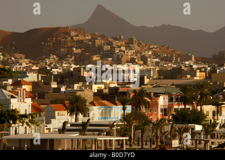 old town Mindelo on Sao Vicente island Cape Verde Africa - Stock Photo
