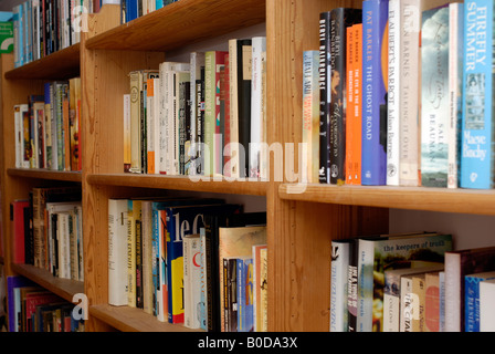 An avid reader s packed bookshelf - Stock Photo
