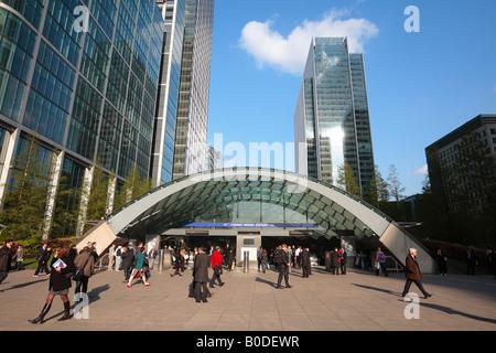 Canary Wharf Station, Isle of Dogs, London. - Stock Photo