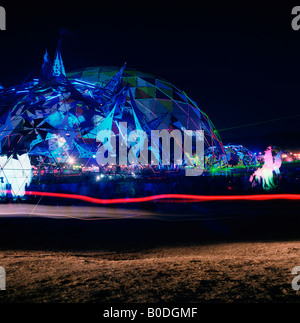 Main stage of outdoor electronic music festival called Boom at night in portugal during the summer. - Stock Photo