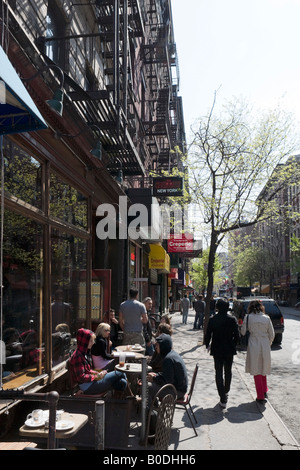 Typical Cafe on Macdougal Street, Greenwich Village (or West Village), Manhattan, NYC, New York City - Stock Photo