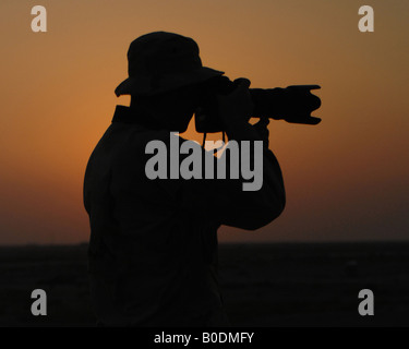 U S Air Force Airman 1st Class Jonathan Snyder photographs of flight line operations on Ali Air Base Iraq Oct 3 - Stock Photo
