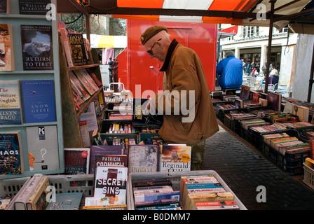 Cambridge Britain Secondhand book stall on Cambridge market  2008 - Stock Photo