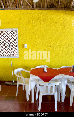 Brightly Coloured Yellow Walled Cafe Near The Entrance To Coba Ruins Mexico
