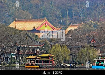 Pagoda At West Lake Hangzhou China - Stock Photo