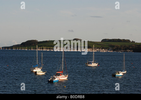 View from Loe Beach of Sailing boats in Carrick Roads, near Feock, Falmouth, Cornwall, England, UK - Stock Photo