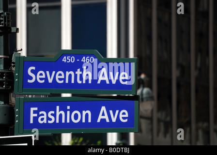 Fashion Avenue and Seventh Avenue street sign in New York City - Stock Photo