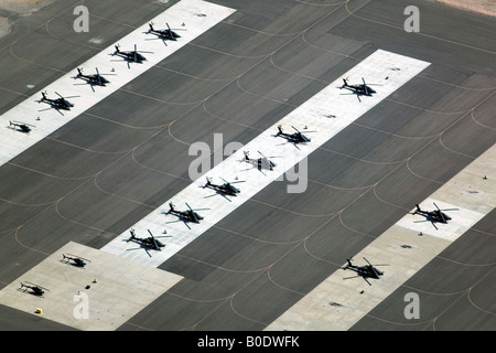 aerial view above military helicopters in Pinal Airbase Silverbell Army Heliport Arizona - Stock Photo