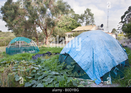 Two chicken coops, a vegetable patch and pond in an organic, self-sustaining and ecologically friendly permaculture - Stock Photo