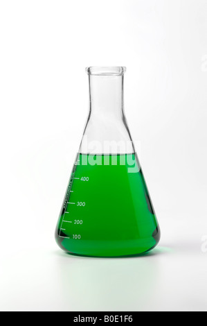 Beaker With Colorful Green Liquid Chemical On White Background - Stock Photo