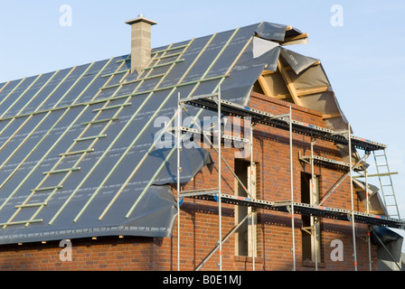 New houses under construction in the district of Alexander House, a residential park in Oldenburg, Lower Saxony, - Stock Photo
