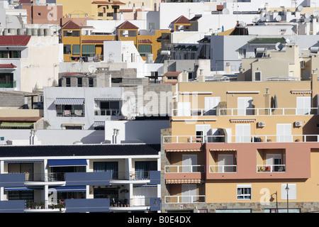 Looking into blocks of apartments in Playa San Juan Tenerife Canary Islands Spain - Stock Photo