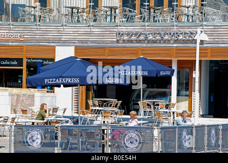 the new pizza express restaurant on events square in falmouth,cornwall - Stock Photo