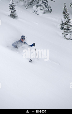 Heath Mackay telemark skiing in the backcountry Grizzly Shoulder Rogers Pass British Columbia Canada - Stock Photo