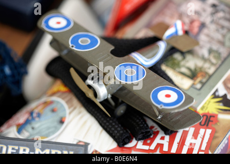 Sopwith Camel airfix kit model, laying around in a typical boy's bedroom. - Stock Photo