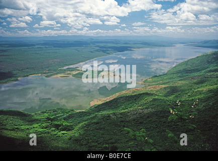 Lake Bogoria in the Great Rift Valley seen from the south Kenya East Africa - Stock Photo