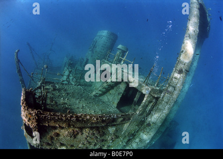 Underwater bridge view of the Giannis D shipwreck - Stock Photo