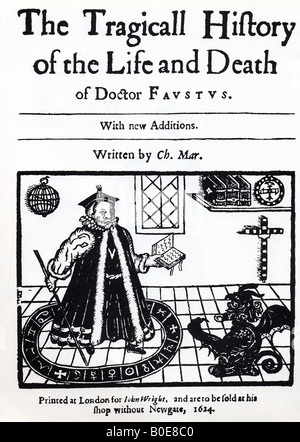 DR FAUSTUS frontespiece of the 1624 edition of Christopher Marlowe's play showing Faustus conjuring up Mephistopheles - Stock Photo