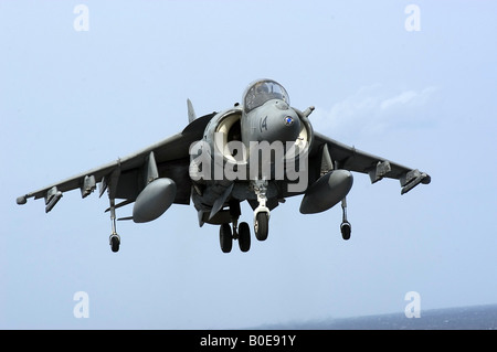 An AV 8B Harrier II assigned to the Bulldogs of Marine Attack Squadron Two Two Three - Stock Photo