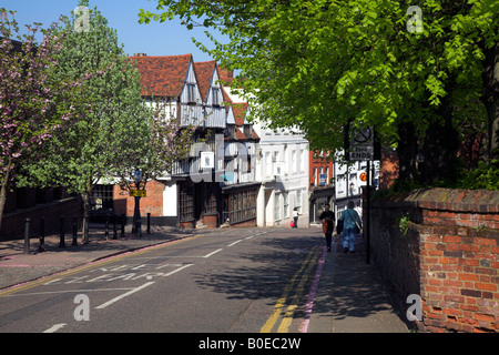High street in the Hertfordshire market town of Bishop's Stortford. - Stock Photo