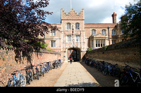 Main entrance to Jesus College Cambridge known as The Chimney - Stock Photo