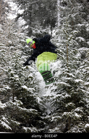 Snowboarder Zac Burke riding off piste jumps though pine trees in the Alps. - Stock Photo