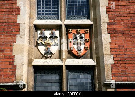 Coat of arms of Jesus College Cambridge - Stock Photo