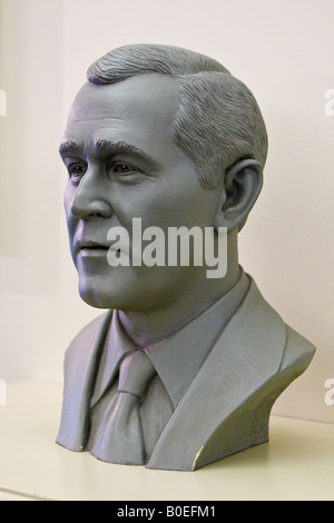 Bust of George W Bush at Walt Disney World in Orlando Florida USA - Stock Photo