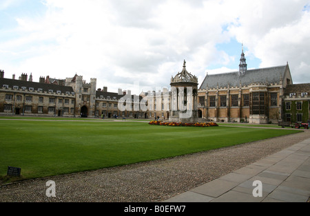 Great Court in Trinity College Cambridge - Stock Photo