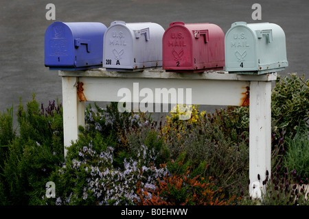 Colorful row of mailboxes - Stock Photo