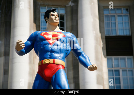 superman model in London on the south bank - Stock Photo