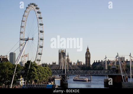 View of London from the Southbank shows London Eye Big Ben Houses of Parliament England UK - Stock Photo