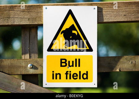 Warning sign of Bull in Field Sellack Herefordshire England United Kingdom - Stock Photo