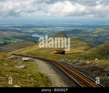 Above Clogwyn station, the Snowdon Mountain Railway. Snowdonia. Wales - Stock Photo