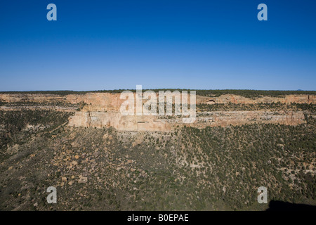 Navajo Canyon overlook from Balcony House with blue sky Mesa Verde National Park near Cortez Colorado United States - Stock Photo
